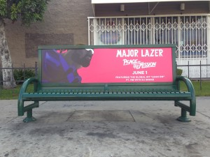 Major Lazer Bus Bench Advertising