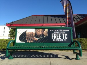 Ty Dollar $ign Bus Bench Ad